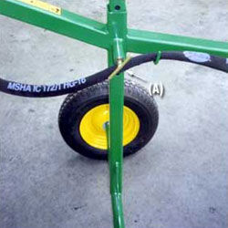 Spring Loaded Pin to wheel axle allows the operator to increase digging depth.